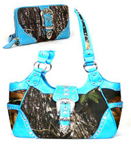 Western Blue Camouflage Buckle Concealed Purse W Matching Wallet