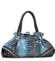 Blue Croc Embossed Twist Closure Rhinestone Fashion Purse