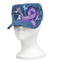 Blue with Purple Cancer Ribbon Cadet Cap Distressed Military Army Hat