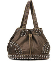 Bronze Cinch Tie Stone Washed Studded Purse