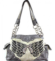 Cream and Silver Double Pistol and Wing Purse