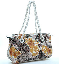 Classic Flower Pattern Faux Leather Purse