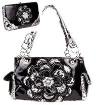 Crystal Leaf Black Leopard Rhinestone Flower Handbag W Matching Wallet