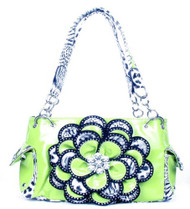Crystal Leaf Lime Green Leopard Rhinestone Flower Handbag