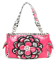 Crystal Leaf Light  Pink Leopard Rhinestone Flower Handbag