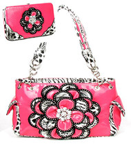 Crystal Leaf Light Pink Leopard Rhinestone Flower Handbag W Matching Wallet