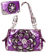 Crystal Leaf Purple Leopard Rhinestone Flower Handbag W Matching Wallet