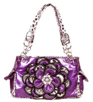 Crystal Leaf Purple Leopard Rhinestone Flower Handbag