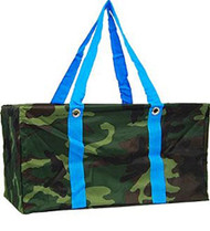 Camouflage Print Blue Trim Utility Tote
