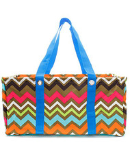 Colorful Trendy Chevron Blue Trim Utility Tote
