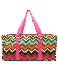 Colorful Trendy Chevron Pink Trim Utility Tote