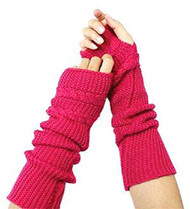 Fuchsia Knitted Fingerless Gloves