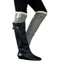 Grey Button Knit Leg Warmer