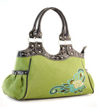 Green Flower Accent Purse