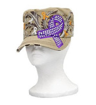 Khaki with Purple Cancer Ribbon Cadet Cap Distressed Military Army Hat