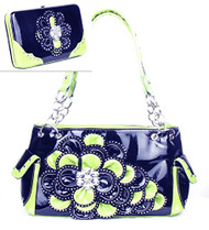 Black and Lime Green Rhinestone Flower Pocket Purse W Matching Wallet