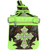 Lime Green Camouflage Cross Rhinestone Messenger Handbag