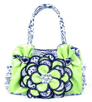 Lime Green Leopard Crystal Leaf Rhinestone Flower Fashion Handbag