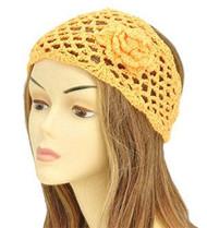 Orange Floral Knit Fashion Headwrap