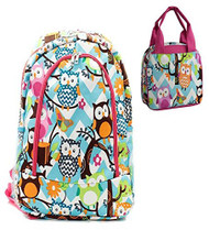 Owl Print Blue Chevron Pink Trim Backpack W Matching Lunch Bag