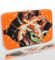 Orange Camo Fashion Double Pistol Wallet With Rhinestones