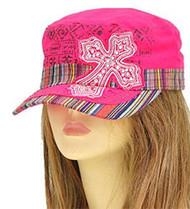 Pink Aztec Print Cross Cadet Hat
