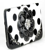 Polka Dot Black Flower Clutch Opera Wallet