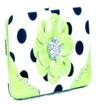 Polka Dot Lime Green Flower Clutch Opera Wallet
