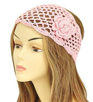 Pink Floral Knit Fashion Headwrap