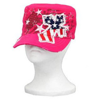 Pink Stars and Stripes Rhinestone Cross Cadet Hat