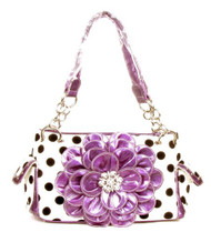 Polka Dot Metal Chain Purple Rhinestone Flower Purse