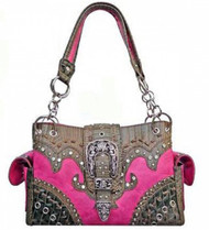 Pink Western Rhinestone Detailed Buckle Conceal and Carry Purse