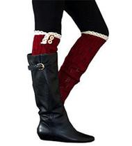 Red Button Knit Leg Warmer