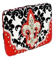 Red Western Style Damask Print Fleur De Lis Wallet