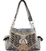 Tan and Silver Double Pistol and Wing Purse