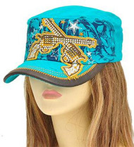 Turquoise Double Pistol Hat with Rhinestone