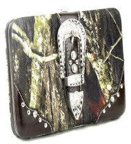 Western Brown Camouflage Buckle Clutch Opera Wallet