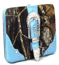 Western Blue Camouflage Buckle Clutch Opera Wallet