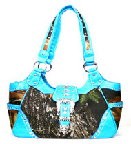 Western Blue Camouflage Buckle Concealed Purse