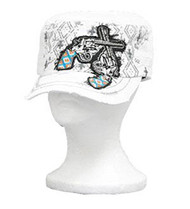 White Dual Six Shooter Cadet Hat