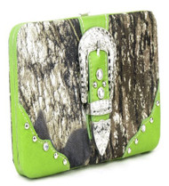 Western Green Camouflage Buckle Clutch Opera Wallet
