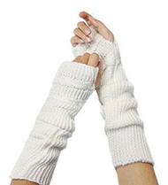 White Knitted Fingerless Gloves