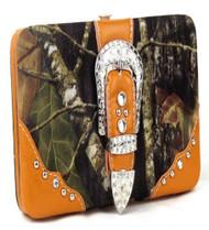 Western Orange Camouflage Buckle Clutch Opera Wallet