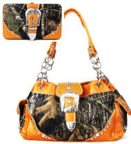 Western Orange Camouflage Buckle Rhinestone Purse W Matching Wallet