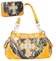 Western Orange Camouflage Cross Rhinestone Handbag W Matching Wallet
