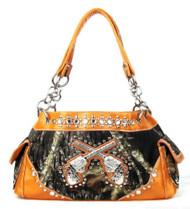 Western Orange Camouflage Double Pistol Handbag Purse