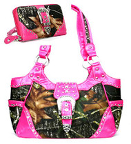 Western Pink Camouflage Buckle Concealed Purse W Matching Wallet