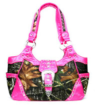 Western Pink Camouflage Buckle Concealed Purse