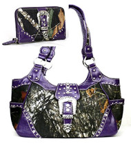 Western Purple Camouflage Buckle Concealed Purse W Matching Wallet