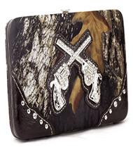 Western Pistol Gun Brown Camouflage Clutch Opera Wallet